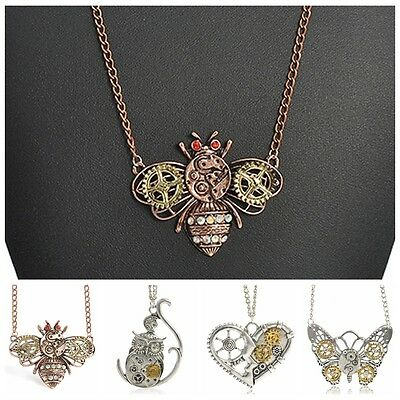 1pc Creative Steam Punk Necklace Heart Gear Insect Owl Pendant Bib Chain Choker