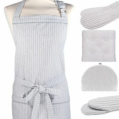 COUNTY TICKING Grey Stripe Double Oven Gloves / Apron / Seat Pad or Gauntlet