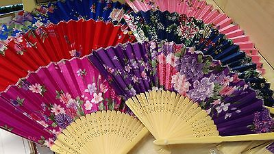 Chinese Satin Fabric Flower Floral Folding Hand Fan