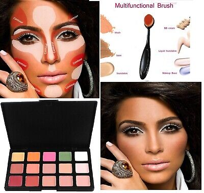 15 Colors Concealer Kit Palette with Brush Face Makeup Cream Contour Foundation