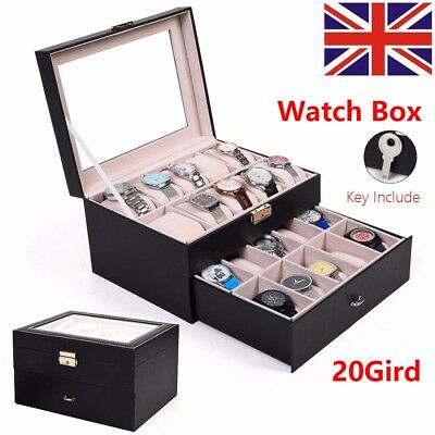 6/12/20 Slot Grid Watches Display Storage Box Case Jewelry Faux PU Leather Black
