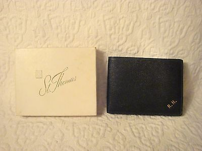 Vintage St. Thomas Fine Leather Hand Grained Morocco Mens Billfold Wallet Black