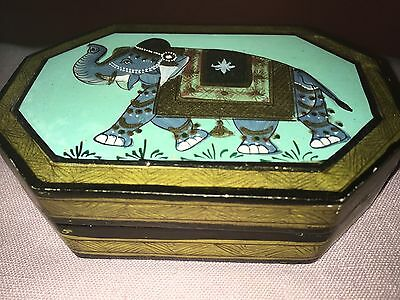 Vintage Laquered Box With Hand Painted Elephant Decoration Kashmir Or Middle Eas