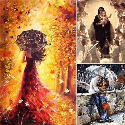 AU 12*16'' DIY Digital Oil Painting By Number Kit Linen Canvas Paint Home Decor