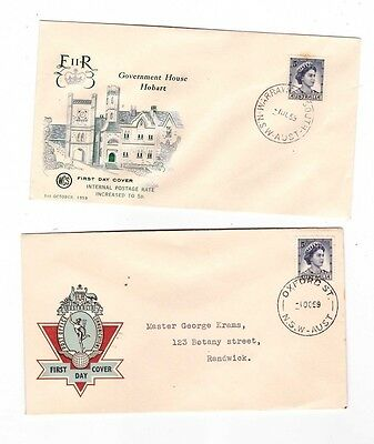 Australia 1959 5d QE FDCs, cds OXFORD ST & WARRAWONG STH NSW etc ( 2 Covers )