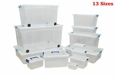 Large Small Plastic Storage Boxes With Clip Lids Strong