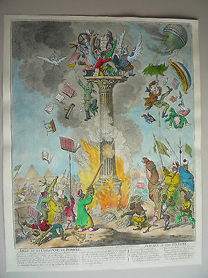 """James Gillray. """" Science In The Pillory."""" Very Rare."""