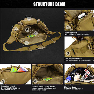 Men Waist Bag Travel Camping Military Pack Tactical Sport Fishing Belt Pouch