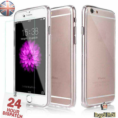 Full 360° Hybrid Acrylic Hard Clear Case Cover With Tempered Glass For iPhone 7