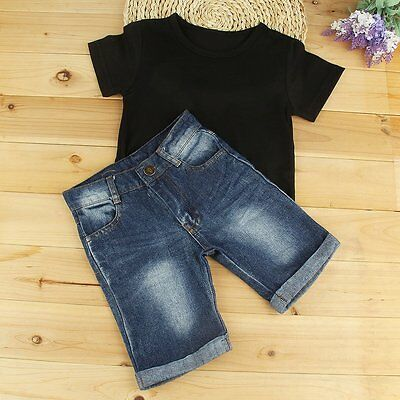2pcs Toddler Kids Baby Boys Clothes T-shirt Tops+Denim Shorts Pants Outfits Set