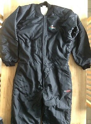 Military Army Surplus Black Thermal Fleece Ski Suit, All In One, Jumpsuit. (L)