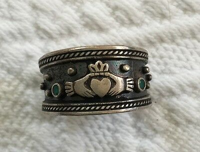Sterling Silver & Emerald Claddagh Cigar Band Style Ring - Made in Ireland