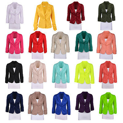 Women's Casual Work Solid Color Knit Blazer Plus Size One button Jacket K5S2