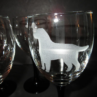 Set 4 Newfoundland Newfie Canada Dog Etched Wine Juice Glass Glasses Black Stem