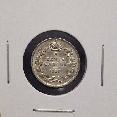 1910 5 cents Canada pointed Leaf about AU