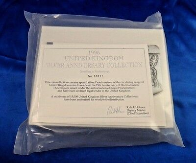 1996 UK Silver Anniversary Proof Set Collection with Box and COA Sealed Unopened