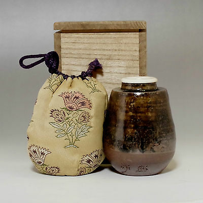 TAMBA CHAIRE Vintage Japanese Signed Pottery Tea Caddy w TOMOBAKO #2076