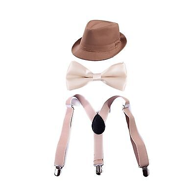 KHAKI Adjustable Suspenders with Pre-tied Bow Tie and Short Brim FEDORA HAT