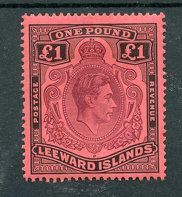 Leeward Islands 1938-51 £1 purple and black on carmine SG114a MM