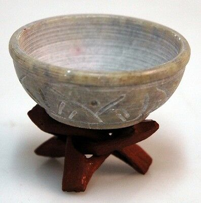 Soapstone Incense Charcoal Burner Bowl with Wooden Stand COMBINED SHIPPING
