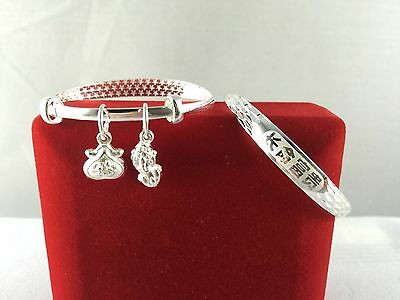 Fine Silver Traditional Baby Bangle, Longevity/ Prosperity with 2 Lucky Charms
