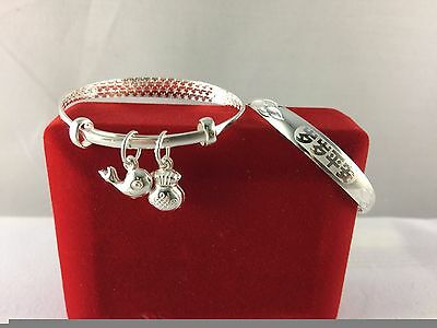Fine Silver Traditional Baby Bangles, Peaceful Always with 2 Lucky Charms