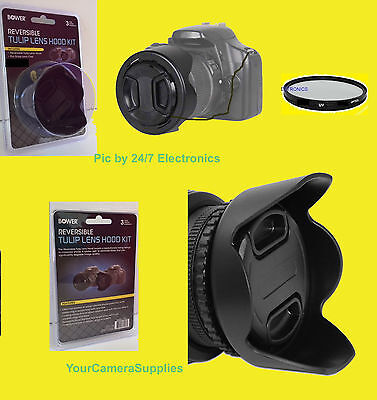 REVERSIBLE FLOWER HOOD+UV FILTER+LENS CAP+HOLDER to CAMERA PANASONIC DMC-FZ80