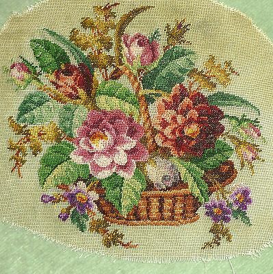 Antique Silk Micro Petit Point Silk Embroidered Roses Flowers Basket
