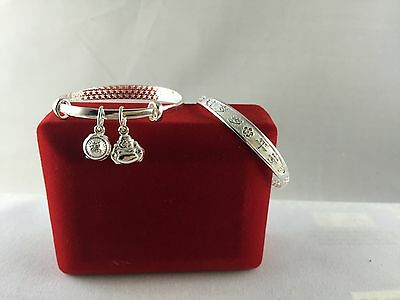 Old Style Traditional Chinese Baby Bangles, Peaceful Always with 2 lucky charms