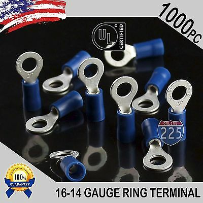 1000 PACK 16-14 Gauge #10 Stud Insulated Vinyl Ring Terminals Tin Copper Core US