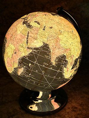 Scarce Rare 1948 Replogle 12 inch Starlight Black Oceans Glass Lighted Globe