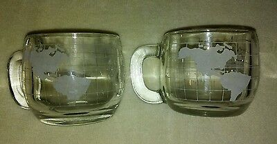 2 Nestle World Map Glass Collectible Mugs Cups Coffee Glasses Cocoa Collectible