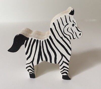 Wooden Hand Crafted Zebra Figurine Small Miniature Doll House Home Decor Collect