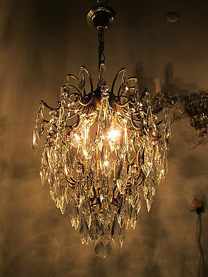 Antique Vnt French Cage Style Czech Crystal Chandelier Lamp Light 1940s 14in dmt