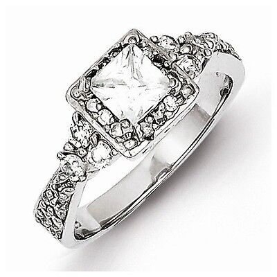 Sterling Silver Antique Style Square Halo Setting Princess-Cut Cz Ring - Size 8