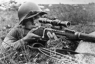 Sniper WW2 Russian soldier Soviet Red army  photo photograph M-36 Helmet