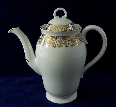 Vintage Adderley coffee pot design H429 white & gold fine bone china 1950s vgc