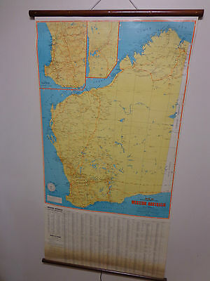 RETRO 1970s SCHOOL STYLE ROLL DOWN WALL MAP - WESTERN AUST. - DISPLAY, OFFICE