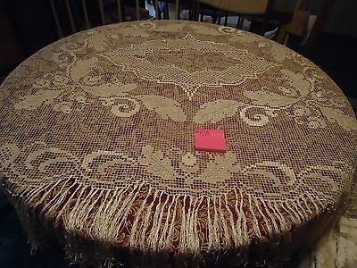 "Antique Vtg Hand Knotted Filet Lace Net Tablecloth Cream w/ Long Fringe 73""x61"""