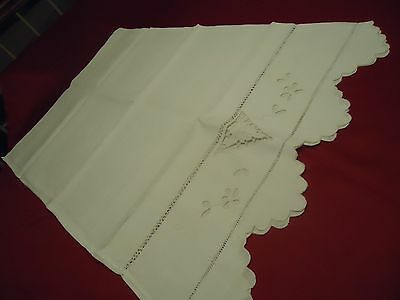 "Vtg Antique Wht Cotton 2 Euro Pillowcases 32""x20"" CutOut Pull Work Embroidery"
