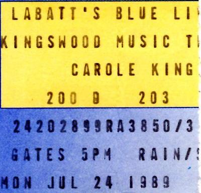 CAROLE KING Ticket Stub  July 24, 1989 at Kingswood Music Theatre,Toronto-Canada