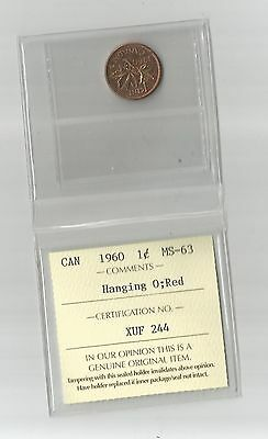 "1960 Small Cent From Canada Graded MS-63 By ICCS  "" HANGING 0  "" RED """
