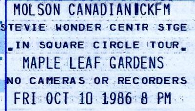 STEVIE WONDER Concert Ticket,1986 MAPLE LEAF GARDENS, Toronto. Unused Ticket