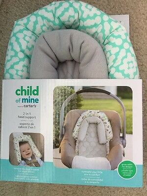 Child Of Mine Carters 2-In-1 Car Seat Head Support Baby Teal White Gray NEW