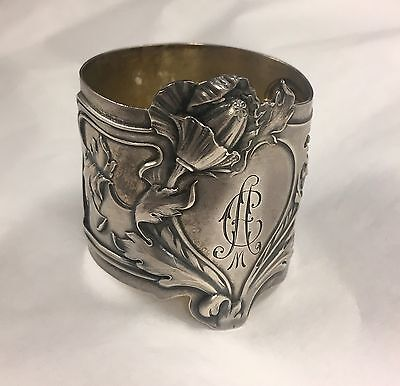 Imperial Russian Silver Art Nouveau Floral Napkin Ring