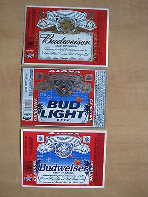 Lot of 3 Anheuser Busch AB Beer Labels only available in Hawaii - Rare, Mint