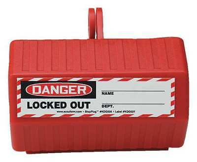 STOPOUT KDD225 Plug Lockout,Red,2-1/4in.L G1881227