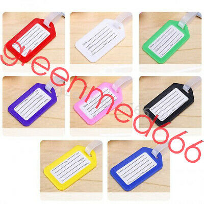 10X Travel Luggage Bag Tag Name Address ID Label Plastic Suitcase Baggage Tags G