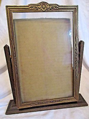 ANTIQUE GOLD LEAF 1930'S SWIVEL PICTURE FRAME TABLE TOP STAND w/ ORIGINAL GLASS