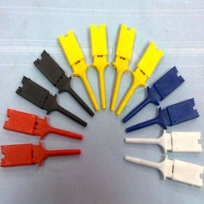 Functional 10pcs 5 Colors Mini Insulated Grabber Jumper SMD Hook Test Clip IC